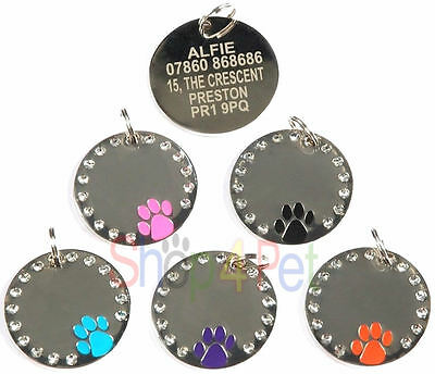 Pet ID Tag, Quality 30mm Diamante Dog Paw Tags ENGRAVING OPTIONS AVAILABLE