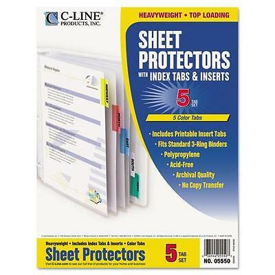 C-Cline 05550 Poly Sheet Protectors with Index Tabs, Assorted Color Tabs, 11 x 8