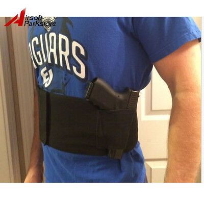 Tactical Adjustable BELLY BAND WAIST PISTOL GUN HOLSTER & 2 MAG POUCHES LARGE