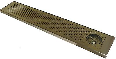 "Draft Beer Rinser Drip Tray 45"" x 8"" W/ S.S. Grill & 4"" Metal Drain- DTW-45SS-R"