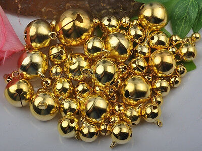 gold plated copper Jingle Bells Charm Beads Finding 6mm 8mm 10mm 12mm 14mm-25mm