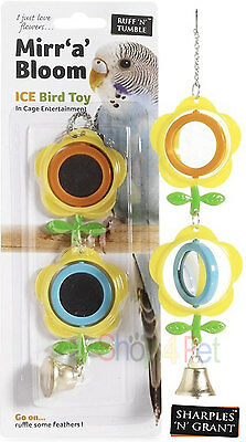 PET Bird TOY FOR CAGE 2 Revoling Mirrors and Bell Toy Budgie Parakeet Cockatiel