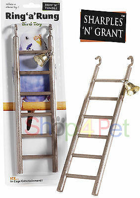 Bird Ladder Toy FOR CAGE with Bell Budgie Parakeet Cockatiel PET 12 Inch Plastic