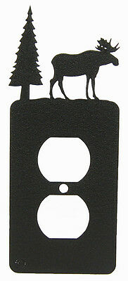 Moose & Tree Single Outlet Cover Plate Black