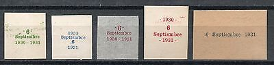 ARGENTINA (#541): Year 1931 issue, five overprint proofs, nice & rare group