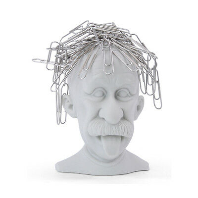 Mustard GENIUS PAPERCLIP HOLDER Magnetic Albert Einstein Funny Office Desk Gift