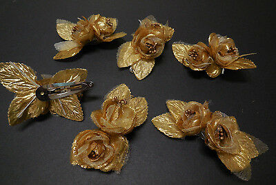NEW in Lot of 6 Gold Applique' Flower Clip Hair Accessory