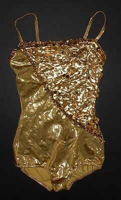 NWOT DANCE COSTUME boycut leotard gold foil Tap Jazz child/ladies sizes