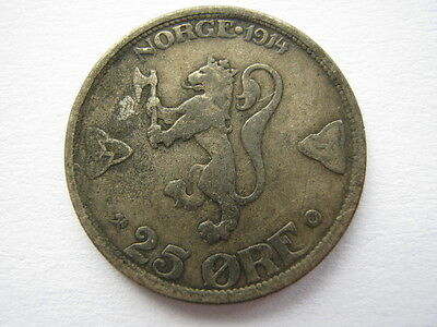 Norway 1914 silver 25 Ore NVF
