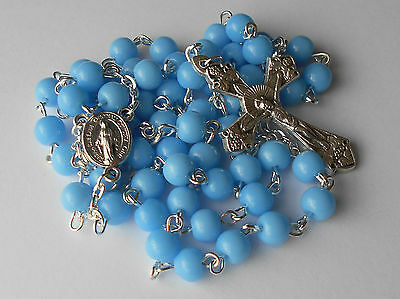 ✫ Light Blue ✫ ROSARY Miraculous Medal Centre Glass Beads Catholic Crucifix