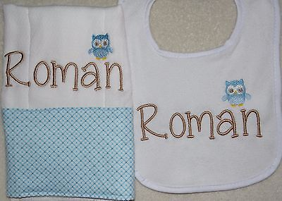 Blue and Tan Owl Personalized Embroidered Burp Cloth and Bib Set
