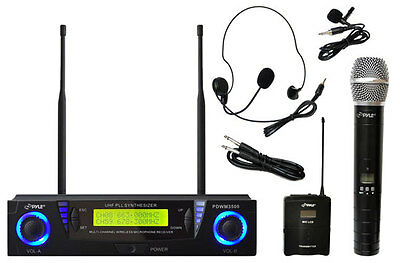 Pyle PDWM3500 2 Channel Wireless Handheld Lavalier Headset Microphone System