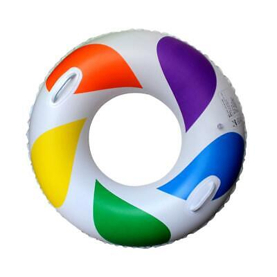 Inflatable Rainbow Swimming Pool Water Float Raft Swim Ring Tube with Handles