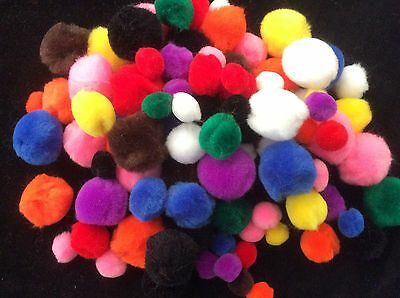 Craft Chenille Pom Poms Assorted Colours & Sizes - 100pk Kids Craft