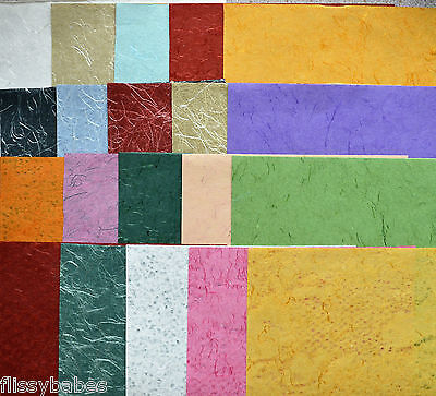 5 Sheets Assorted Handmade Silk Papers 280mm x 190mm NEW