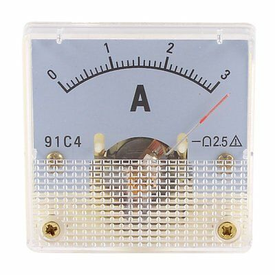 DC 0-3A Class 2.5 meter  Rectangle Analog Panel Ammeter Gauge Amperemeter