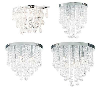 IP44 Bathroom Flush Fitting Ceiling Wall Light Chrome.Crystal Droplet Chandelier