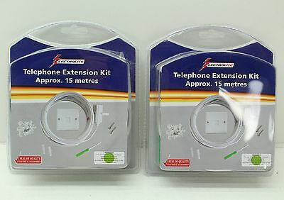 NEW 2 x BT Approved 15m White Telephone Extension Kits Cable Box & Fixtures