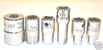"""6 USED Snap-On 1/4"""" drive SHALLOW 6 & 12-PT SOCKETS 5/32-1/2"""" GRP I $70"""