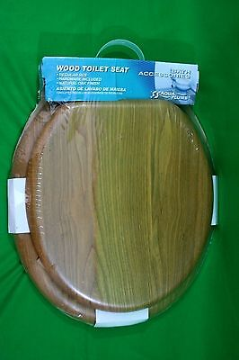 (I-740) Vtg Wood Toilet Seat and Lid with Hardware Natural Oak Bathroom Decor