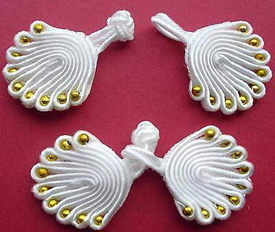 5 pairs White Chinese Frogs Buttons with bead Applique Craft CF08a