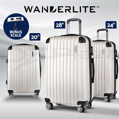 Wanderlite 3pc Luggage Sets Suitcase Trolley Set Free Scale TSA Travel Hard Case