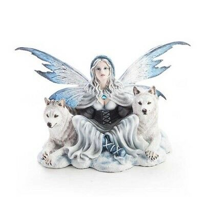 Fairyland Big Large Lady Fairy Figurine Sitting with Two 2 Wolves Snow White
