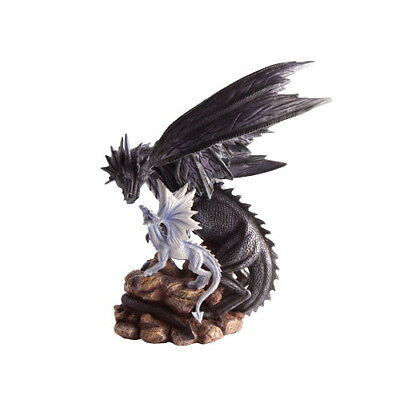 Huge Large Black Mother and Baby White Dragon Perched On Rocks Figurine Statue