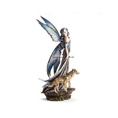 Mystical Statue Sculpture Fantasy Fairy with 2 Wolves Fox Figurine Home Decor
