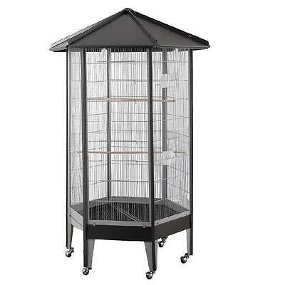 HQ 61818bk 34 in. Hexagonal Aviary with Solid Roof Black