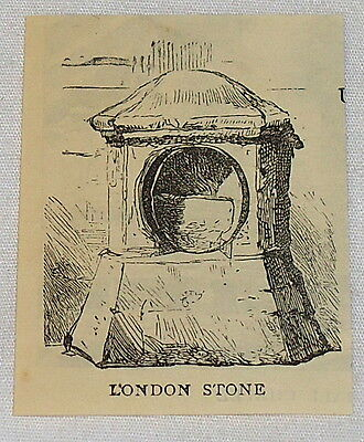very small 1884 magazine engraving ~ THE LONDON STONE