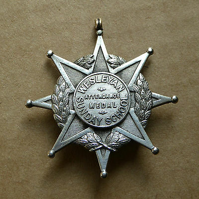 Wesleyan Sunday school, 8 pointed star badge/medal, 1.75 inches wide.