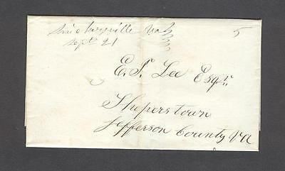 """""""Snickersville Va Sept 21"""" Loudoun Co. 1840s wrapper to E. F. Lee in Sheperstown"""