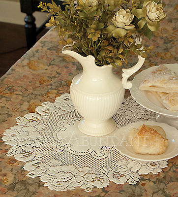 Vintage Rose Doily by Heritage Lace, Choice of 4 Sizes & 2 Colors, Victorian