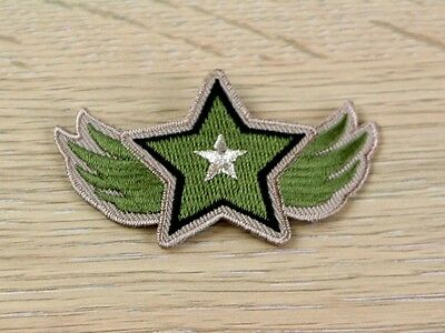 Star Patch Embroidered Iron On Motif Applique  Khaki Green - each (MI-15-1604)