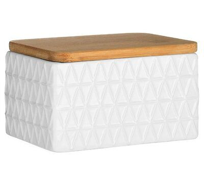 Premier TRI BUTTER DISH Ceramic with Bamboo Lid WHITE Tessellated Triangles