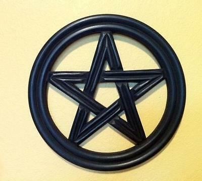 Wooden Pentagram Symbol Wall Hanging in Black! Ready to Hang!