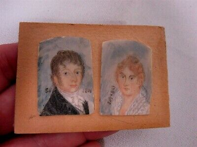 Pair Of Antique Signed Initials 1801 Hand Painted Miniature Portraits