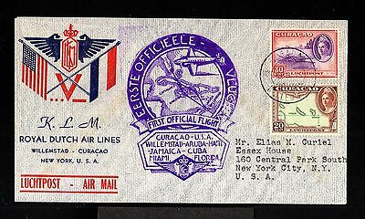 10618-CURAÇAO-AIRMAIL CENSOR FDC.COVER WILLEMSTAD to USA.1943.WWII.Dutch.KLM.