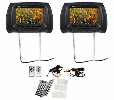 "Pair Rockville RHP7-BK 7"" Black TFT-LCD Car Headrest TV Monitors w/ Speakers+IR"