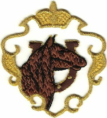 Jungle Tiger in Gold Cut Out Shield Crest Portrait Embroidery Patch