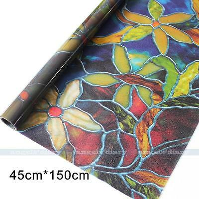 1.5M Flower Privacy Window Film Static Film Home Office Removable Glass Film#68