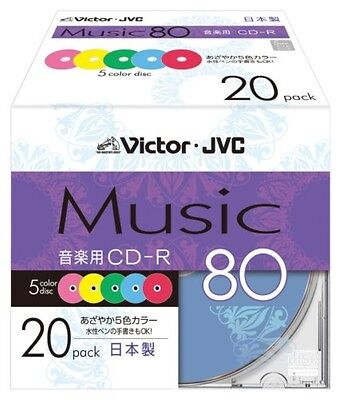 Victor JVC Blank Music CDR Discs 80min 24x CD-R 5 Color 20 Discs from Japan