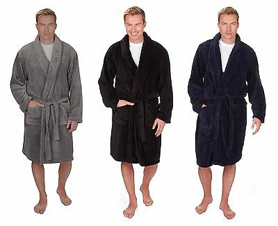Mens Plain Supersoft Fleece Dressing Gown / Bath Robe ~ Medium to 5XL ~ upto 64""