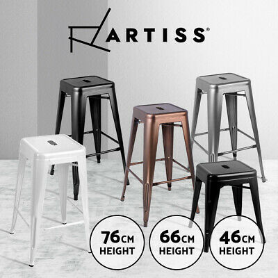 4xArtiss Replica Tolix Bar Stools Metal Steel Bar Stool Kitchen Cafe Chair Gloss