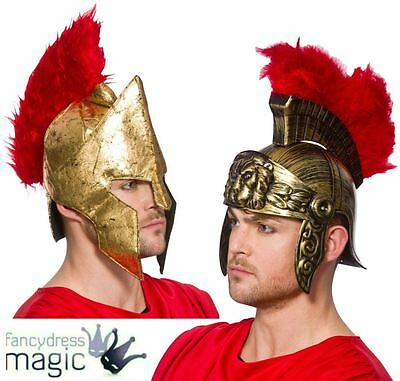 Adult Roman Helmet With Feathers Mens Gladiator Fancy Dress Hat Spartan Warrior
