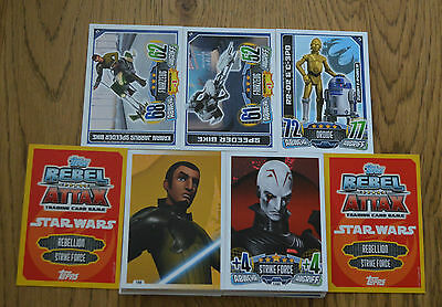 Rebel Attax Série 1 Tous 128 Cartes de Base Complet Topps Star Wars