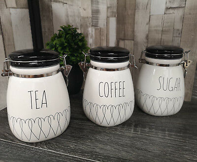 New Heartlines Tea Coffee Sugar Canisters Kitchen Storage Ceramic Jars Clip  Top