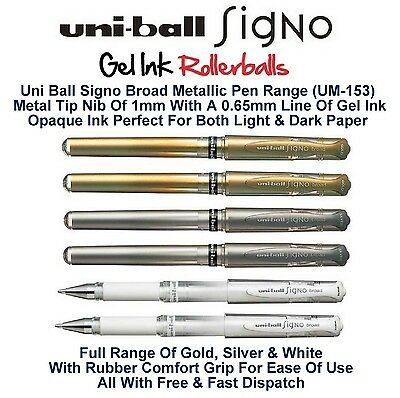 Uni Ball Signo Pen Broad Metallic Gel Ink Rollerball 1mm Tip 0.65mm Line Um-153