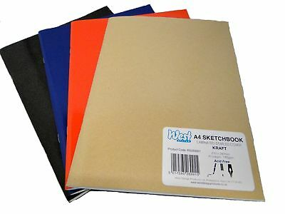 A4 Assorted Colour Artist Sketch Books Drawing Sketching Paper Pads Plain 140gsm